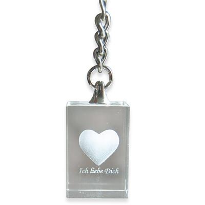"""Glasschlüsselanhänger """"Ich liebe Dich"""" mit 3D-Gravur"""