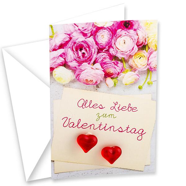 """Motivkarte """"Alles Liebe zum Valentinstag"""" mit zwei Herzen"""