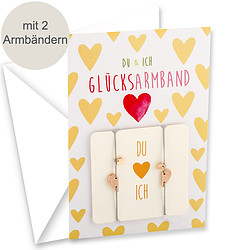 """Motivkarte """"Du & Ich"""" mit zwei Glücksarmbändern"""
