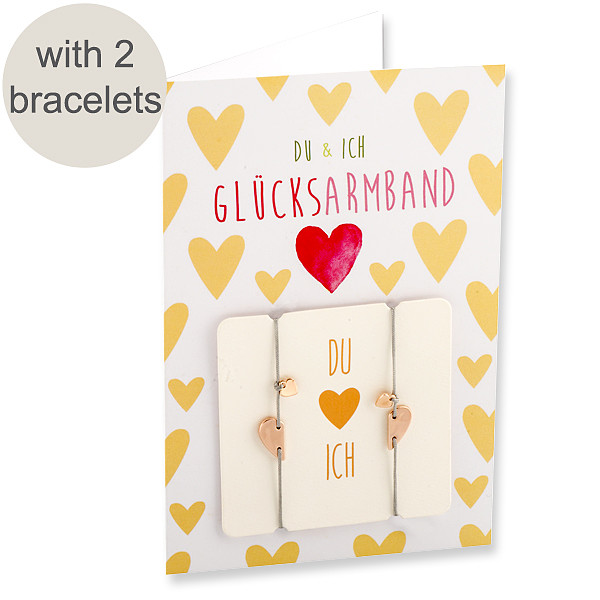 """Greeting Card """"You & I"""" with two lucky bracelets"""