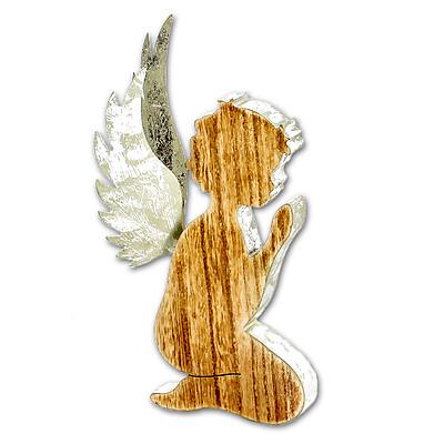 Holz-Engel mit Blattsilber-Flügeln