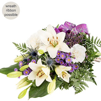 Sympathy with lilac ribbon