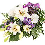 Liegestrauß mit lila Schleife