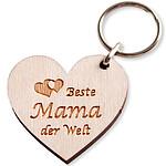 "Schlüsselanhänger ""Beste Mama der Welt"" aus Holz"