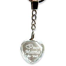 """Glasschlüsselanhänger """"Beste Mama der Welt"""" mit 3D-Gravur"""