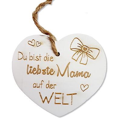 """Holzanhänger Herz """"Du bist die liebste Mama auf der Welt"""" mit Kordel"""