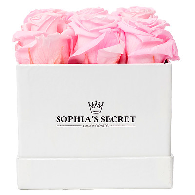 9 pink roses in a white box