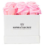 9 rosa haltbare Rosen in weißer Box