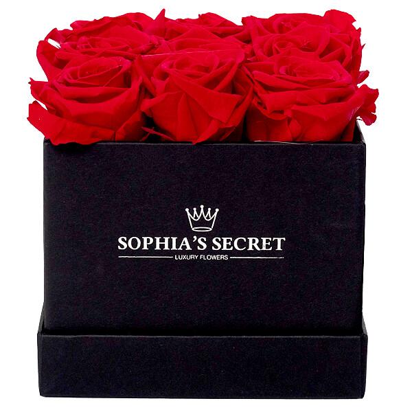 9 rote haltbare Rosen in schwarzer Box