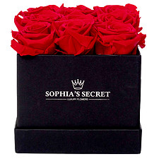 9 red roses in a black box