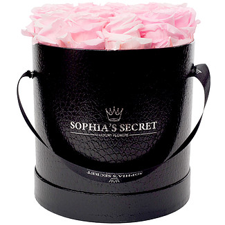 20 pink roses in a black hat box