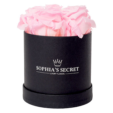 5 pink roses in a black round box
