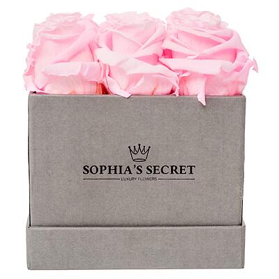 9 rosa haltbare Rosen in grauer Box
