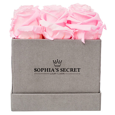 9 pink roses in a grey box
