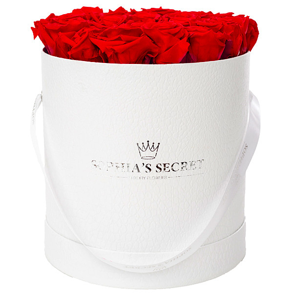 20 red roses in a white hat box