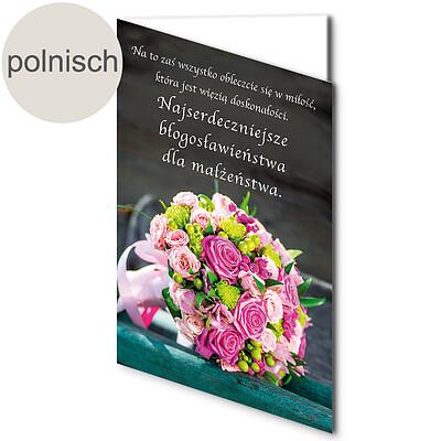 """Polnische Motivkarte: """"Die Herzlichsten Segenswünsche zur Vermählung"""""""