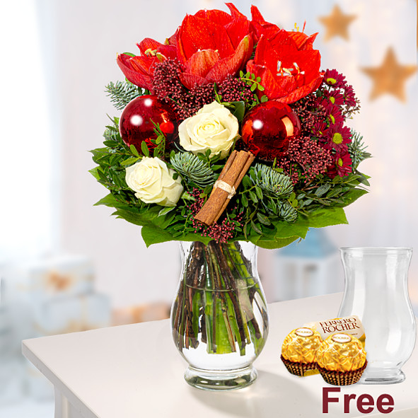 Flower Bouquet Weihnachten with vase & 2 Ferrero Rocher