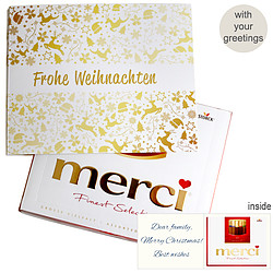 Personal greeting card with Merci: Golden Christmas
