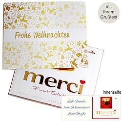 Persönliche Grußkarte mit Merci: Goldene Weihnachten