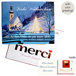 Personal greeting card with Merci: Weihnachtszauber