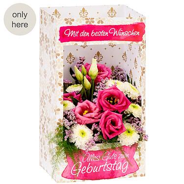 """Flowers in a window box """"Mit den besten Wünschen"""""""