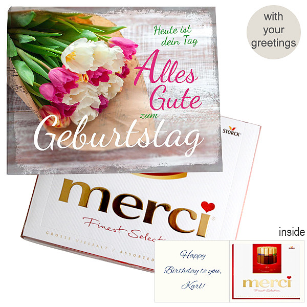 Personal greeting card with Merci: Zum Geburtstag (250g)