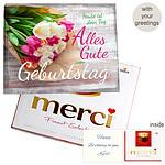 Personal greeting card with Merci: Zum Geburtstag