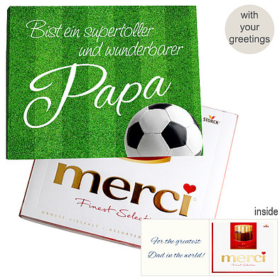 Personal greeting card with Merci: Wunderbarster Papa (250g)