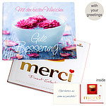 Personal greeting card with Merci: Gute Besserung