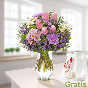 Blumenstrauß Frühlingszeit mit Vase & Ferrero Raffaello