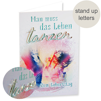 "Greeting card birthday ""tanzen"" with Acryl lettering"