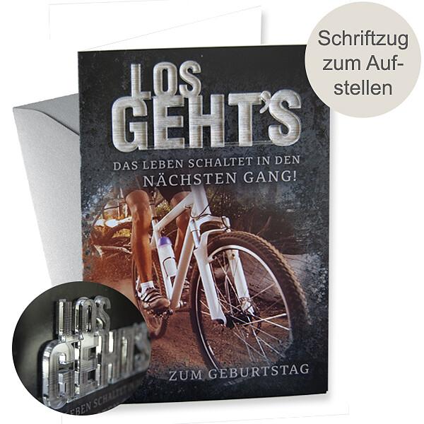"""Motivkarte Geburstag mit Acryl-Schriftzug """"LOS GEHT´S"""""""