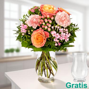 Blumenstrauß Sonnenaufgang mit Vase