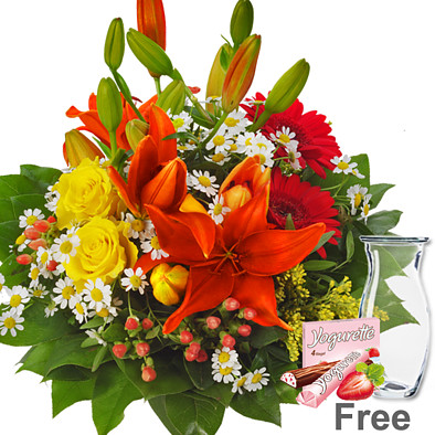 Flower Bouquet Symphonie with vase & Yogurette