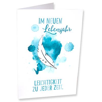 """Aquarell-Motivkarte """"Im neuen Lebensjahr Leichtigkeit zu jeder Zeit"""""""