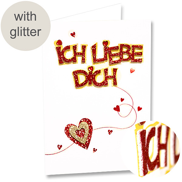 """Greeting Card """"Ich liebe Dich"""" with glitter"""