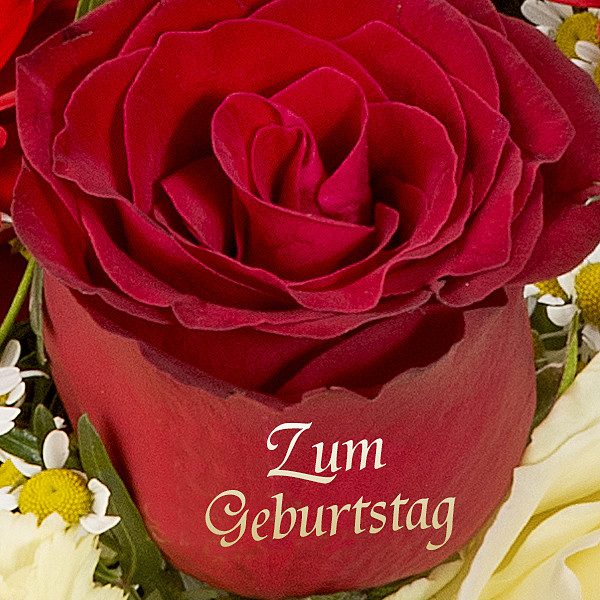 Premium Bouquet Geburtstagsgrüße with premium vase