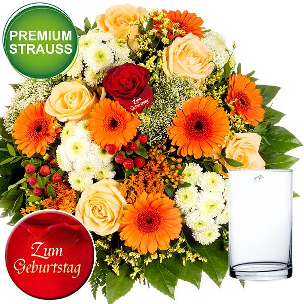 """Premiumstrauß """"Zum Geburtstag"""" mit Premiumvase"""