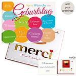 Personal greeting card with Merci: Beste Wünsche zum Geburtstag