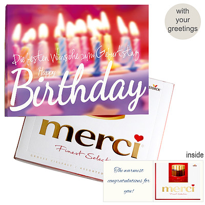 Personal Greeting Card With Merci Happy Birthday
