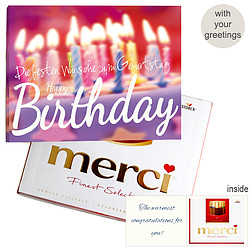 Personal greeting card with Merci: Happy Birthday