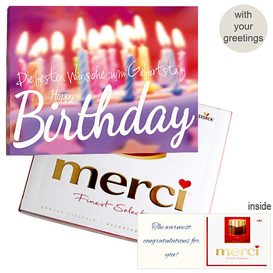 Personal greeting card with Merci: Happy Birthday (250g)
