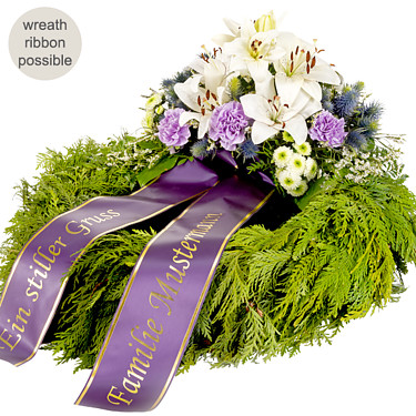 Sympathy Wreath in white and lilac