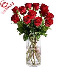 12 rote Rosen im Bund