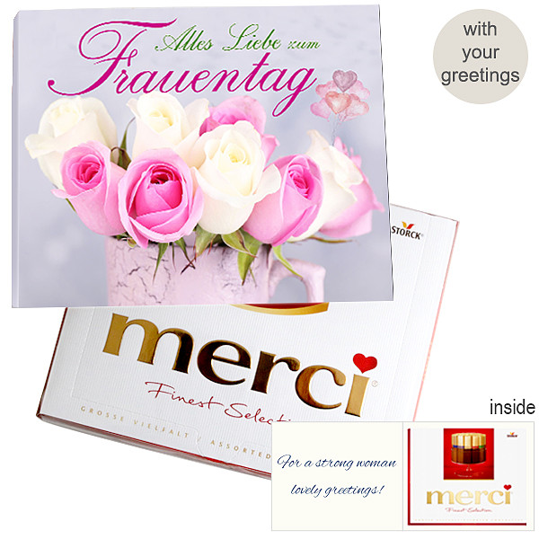 Personal greeting card with Merci: Alles Liebe zum Frauentag (250g)