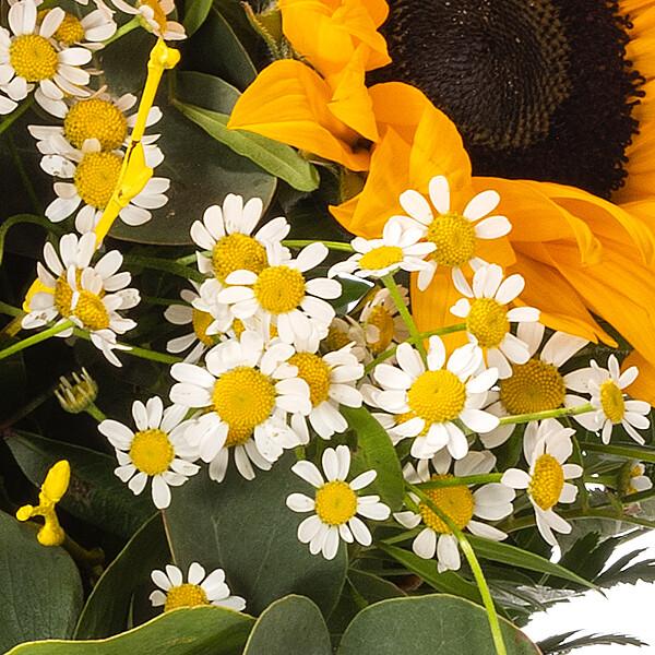 Blumenstrauß Danke mit Vase & Ferrero Raffaello