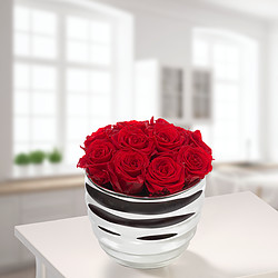 10 red roses in a silver pot