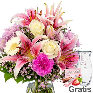 Blumenstrauß Glücksmoment mit Vase & Ferrero Yogurette