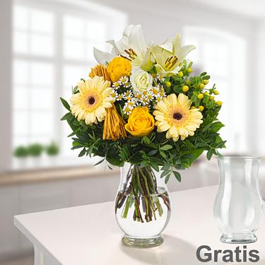 Blumenstrauß Sonnengelb mit Vase