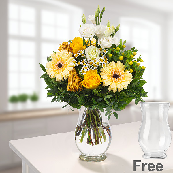 Flower Bouquet Sonnengelb with vase